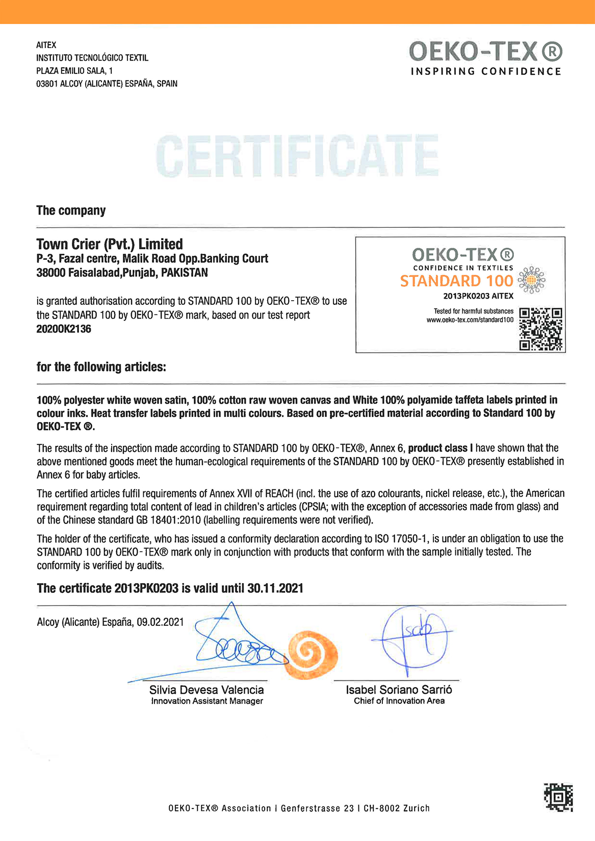 Town Crier Printing & Packaging certificates OEKO TEX 2021