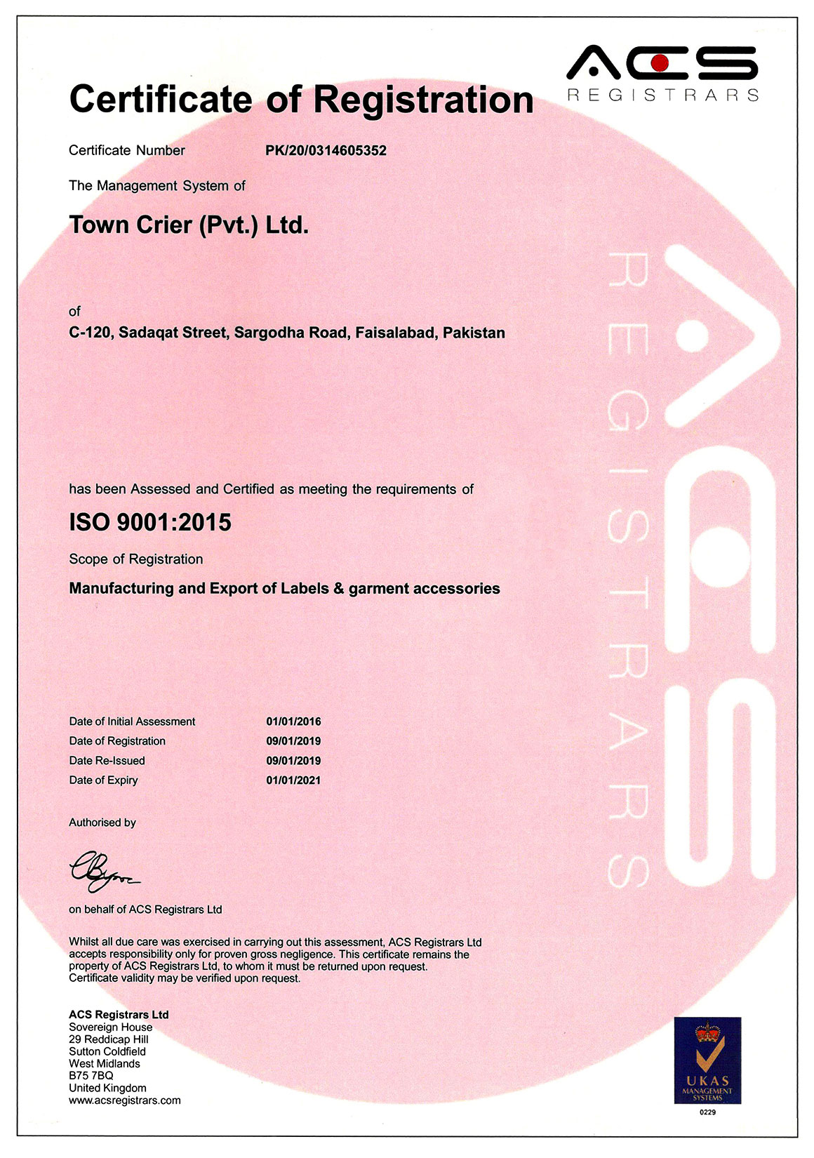 Town Crier Printing & Packaging certificates ACS